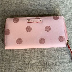 Handbags - Kate Spade Pink Glitter PolkaDot Zip Around Wallet
